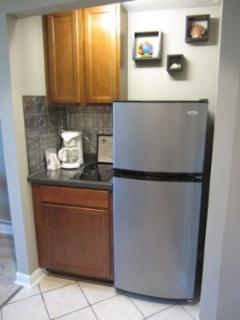 Kitchenette includes full sized fridge and built-in two burner solid surface stove