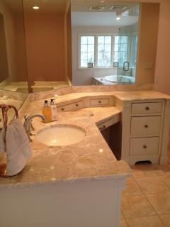 Ensuite Master Bath with ALL Italian Marble and Lighted Vanity