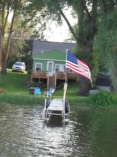Picture from dock looking at cottage