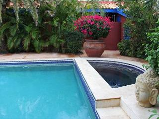 Large shared pool and heated jacuzzi, lush garden setting