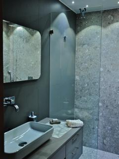 2 meter wide shower with star lights and top appliances  of Italian design.