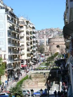 and looking right you se the Galerius Arc with the Rotunda the old city and the walls of Yedi Kule