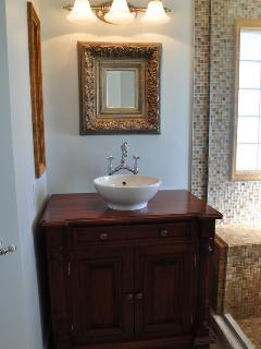 The master bath is upscale