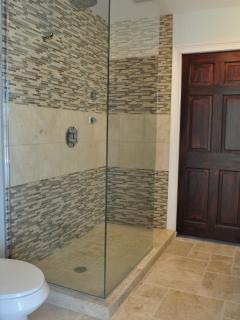 The second washroom has a spacious rainforest shower