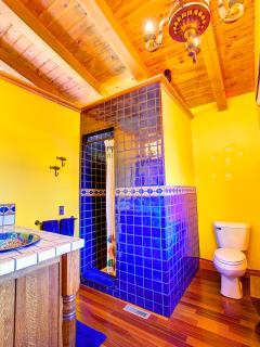2nd Bedroom Bathroom - Gorgeous Mexican tile sink & floor to ceiling blue shower