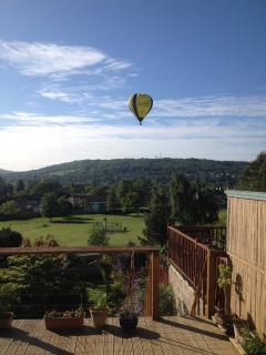 hot air balloon hovering over Larkhall: view from our decking