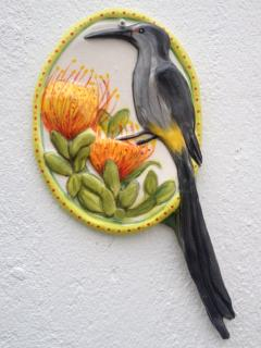Sugarbird motif at the entrance to our apartment!
