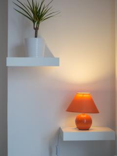 Plante verte + lampe de chevet du séjour