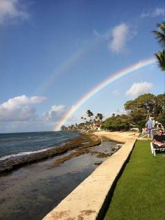View from Paki Maui of Honokowai Park's beach next door (rainbow not guaranteed)