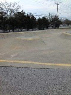 skate boarding pit  behind condo