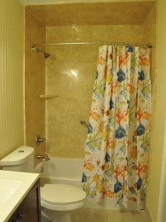 Remodeled bathroom with tub/shower combination accessible from hall or from bedroom.