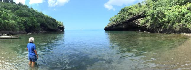 This lovely small secluded cove is only 15 minutes walk from the house and has good snorkelling