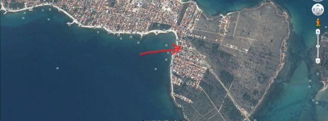 Satellite view of the house position on the island of Vir (bridge connection to coast mainland)