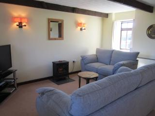 Amy cottage is warm and cosy it has a night storage heater and a electric coal effect stove.