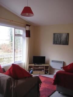 Living room with TV, DVD and freeview