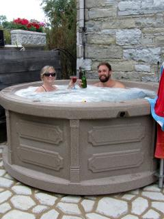 Enjoy our outdoor all season hot tub under the stars.