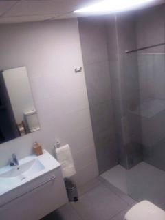 Baño completamente reformado con amplio plato de ducha con mampara de cristal y kit de ducha.
