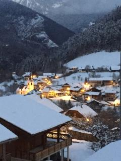 The view of the village at dusk