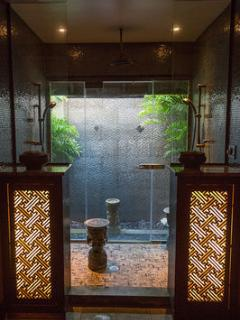 Step out from the master shower to enjoy a totally private outdoor shower.