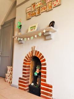 Beautiful exposed brick feature fireplace
