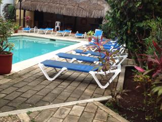 relax in the sun or in the shade of the Palapa