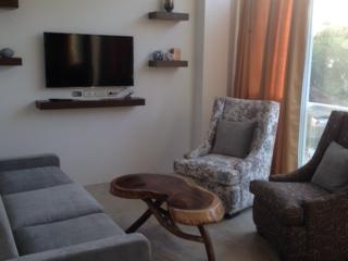 Living room with satellite TV and internet