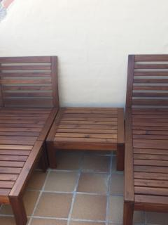 Sun loungers which habe cushioned pads fir sun seekers