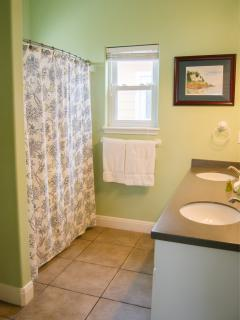 Master bath, shower/tub combo.