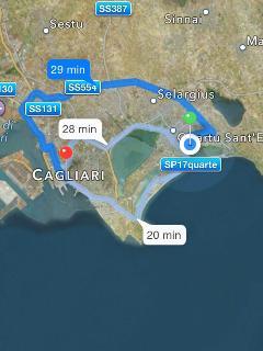 Posizione casa (pallino verde), tempi e percorsi da Aeroporto, porto e stazione di Cagliari