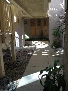 Front entrance, one level down stairs from parking lot