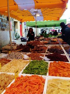 Multiple varieties of dried fruit and olives. (Cr. M. Terry)