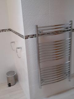 Large heated towel rail.