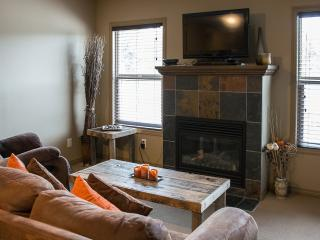Living area with a 48' TV, Cable and better yet - views of the Rocky Mountains!