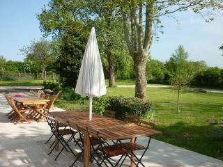 Deux grandes tables de jardin au soleil !