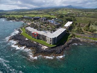 Kuhio Shores 412 Oceanfront Condo, Poipu, Kauai.  Now Fully Air-Conditioned!