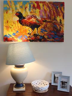 Original art in the sitting room.