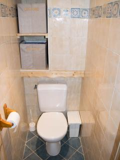 Toilets are separated from bathroom