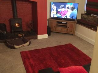 Front room with wood burner