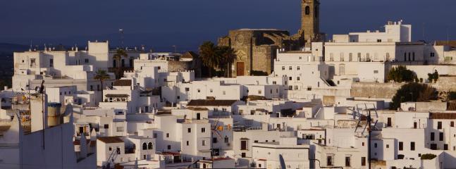 La terraza tiene unas vistas fabulosas de la histórica ciudad y el campo más allá.