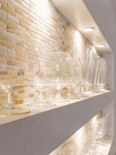 Bar:  Glass for every occasion.  Tons more in cabinets below as well.