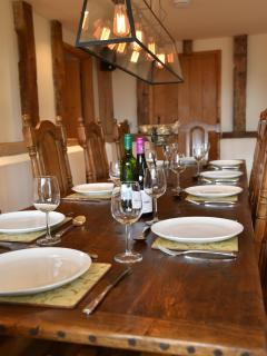 10 Seater Oak Trestle Table - Catering also available upon request