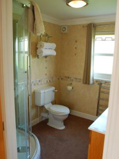 Modern tiled bathroom with WC, vanity unit and fully tiled shower. All towels and linens included.