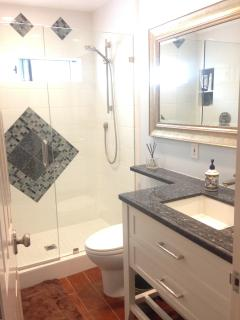 Bathroom on lower level between bedrooms, Shower and single sink