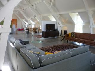 The loft: the spacious living area with open kitchen. Comfortable for 12 people.