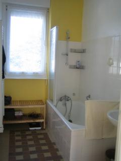 Bathroom with w.h.b.