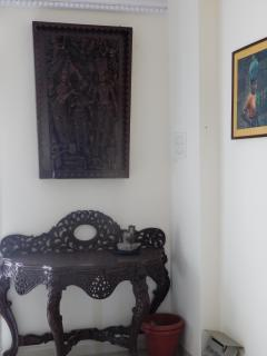 antique carving in living room