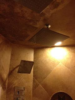 Master shower has four rain heads with changing lights, body jets and sprayers.