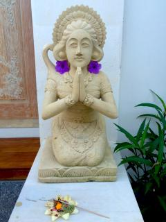 Selamat Datang - one of our 'welcome' statues by our hand carved front door done by Wayan your drive