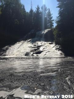 The falls on Bark Lake