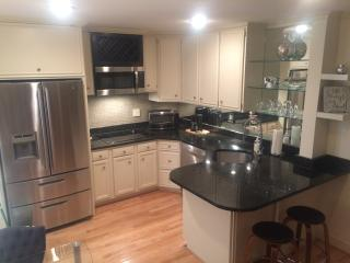 Beautiful, full-service kitchen. Hard-wood floors and over-sized refrigerator.